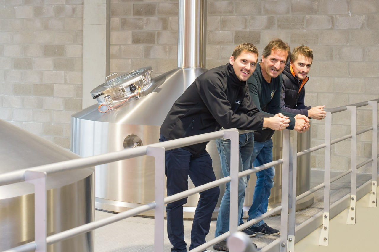 "Julien, Pierre and Tim Gobron (from the left) are united by a fierce innate passion for brewing beer: ""We feel that we're not so much craft brewers as the term is understood nowadays, but rather a group of experts with the know-how for Belgian brewing traditions,"" says Julien Gobron."