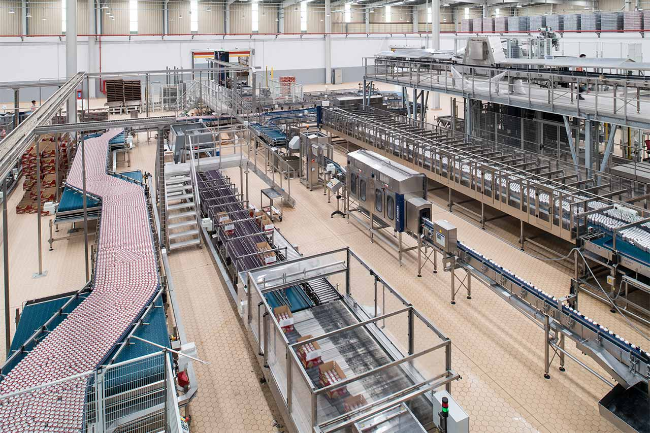 The canning line for beer has been designed for a rating of 90,000 cans per hour.