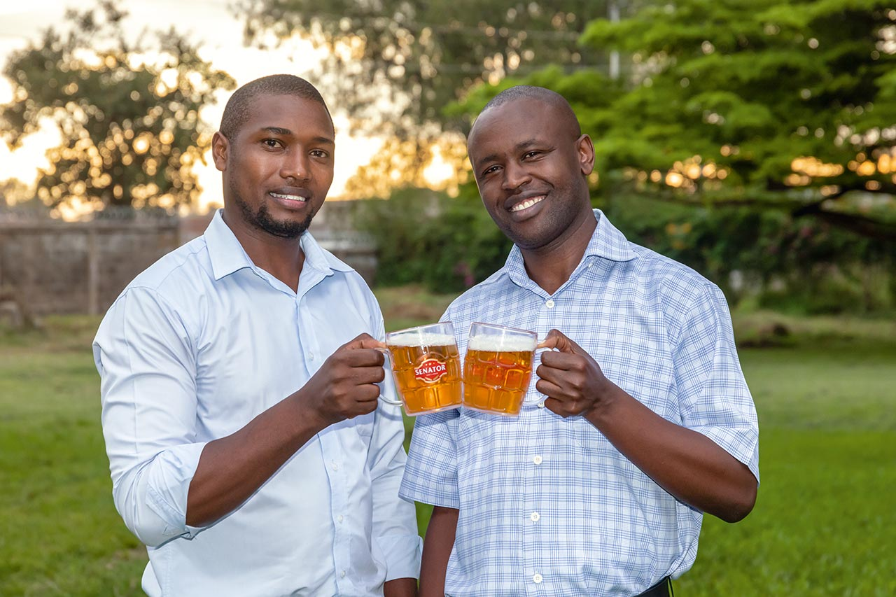 From left: Naftaly Ndungu, the responsible brewmaster and quality officer, and Jacob Bett, responsible for engineering and filling operations