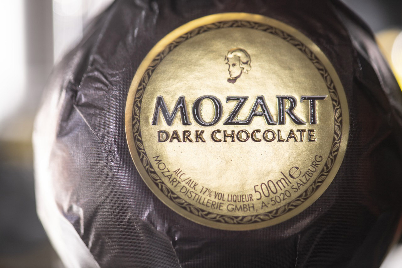 Mozart produces five different chocolate liqueurs, including one with a dark-chocolate flavour.
