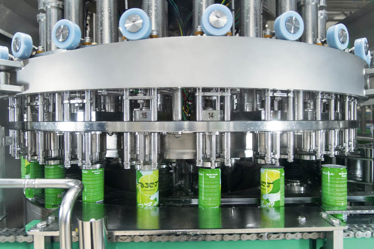 The canning line features a Volumetic filler.