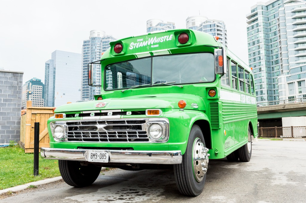 Twelve green vintage trucks carry Steam Whistle's beer message out into all of Toronto. They can be fully loaded, and some of them fitted with tapping kit, and made available for parties.