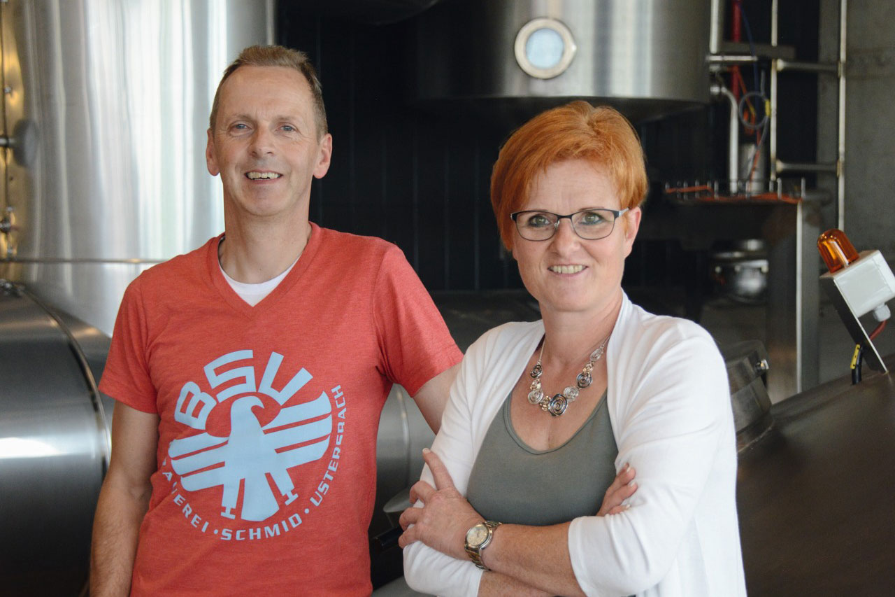 Ustersbacher Brauerei's owner and manager Stephanie Schmid and technical director Josef Geh
