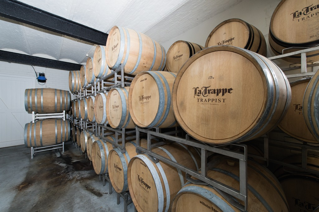 The La Trappe Quadrupel Oak matures for up to two years in oak casks.