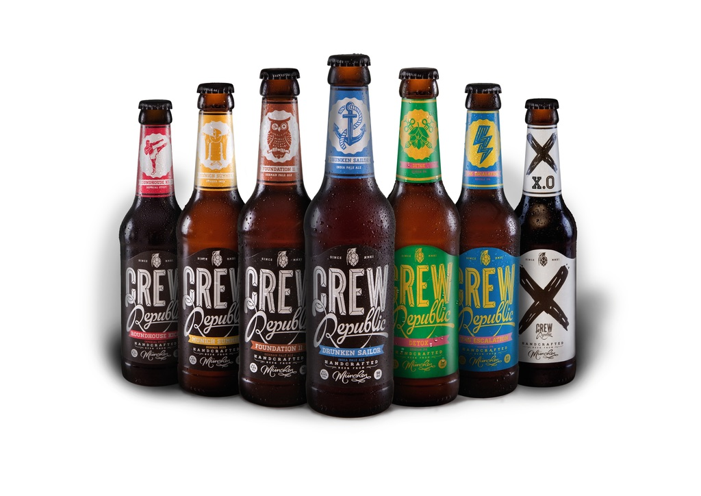 CREW Republic's product range consists of six permanent beer varieties, and what is called the Experimental Line, designated with an X.