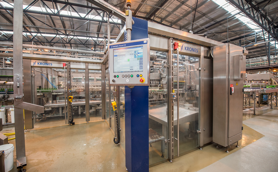 A new bottling line from Krones rated at 54,000 bottles an hour was installed.