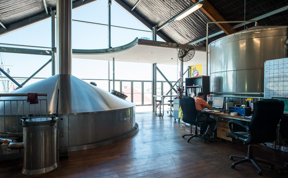 The brewhouse is rated at 100 hectolitres of cold cast wort and designed for ten brews a day.
