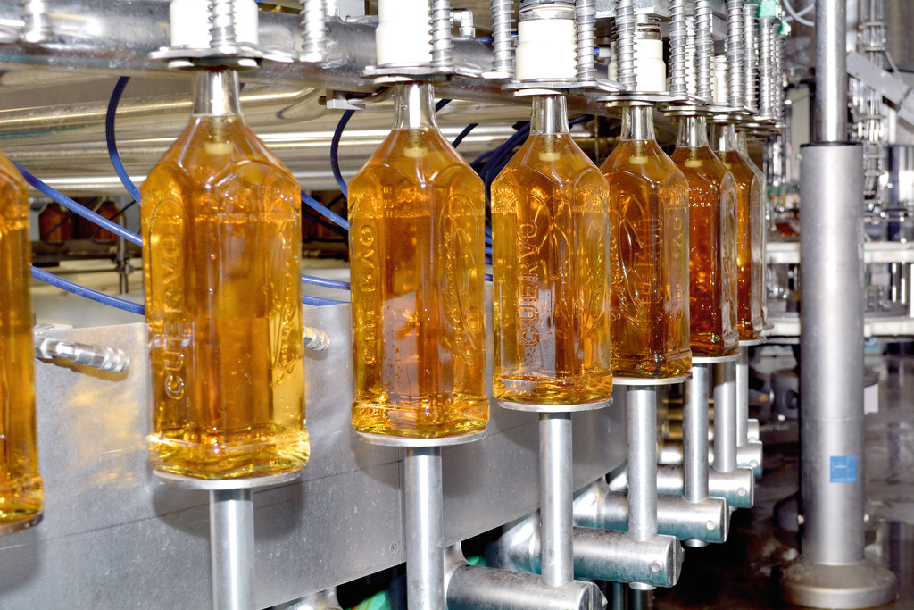 The line is not only the first complete bottling line from Krones, it's also Jose Cuervo's fastest tequila bottling line, rated at 26,000 bottles an hour.