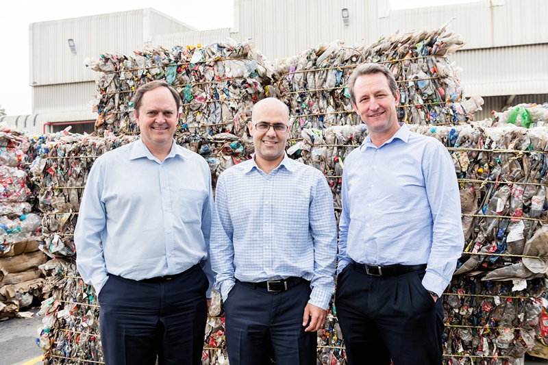 """Taking a long-term commercial view, the Krones recycling system was the best solution for us."" – from the left: John Hunt (Managing Director of Mpact Recycling), Ronald Fairbanks (General Manager of Mpact Polymers) and Bruce Strong (CEO of Mpact Operations)"